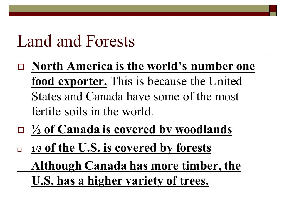 Land and Forests  North America is the world's number one food exporter. This is because the United States and Canada have some of the most fertile s