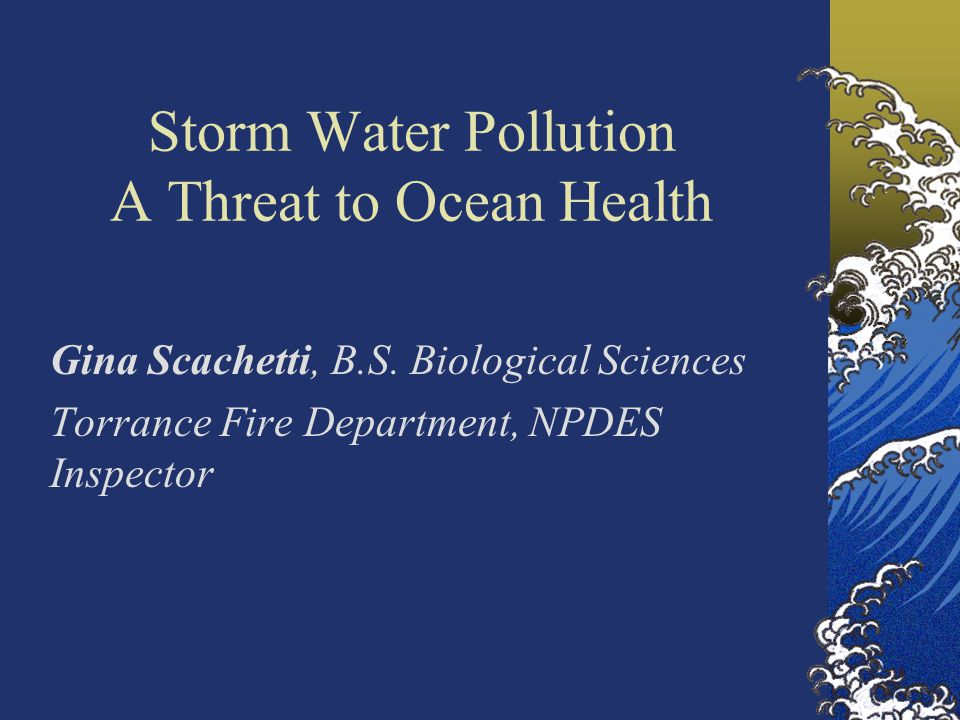 Storm Water Pollution A Threat to Ocean Health Gina Scachetti, B.S.