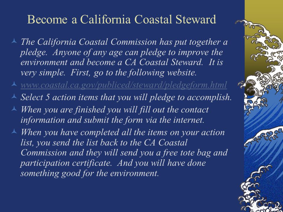 Become a California Coastal Steward The California Coastal Commission has put together a pledge.