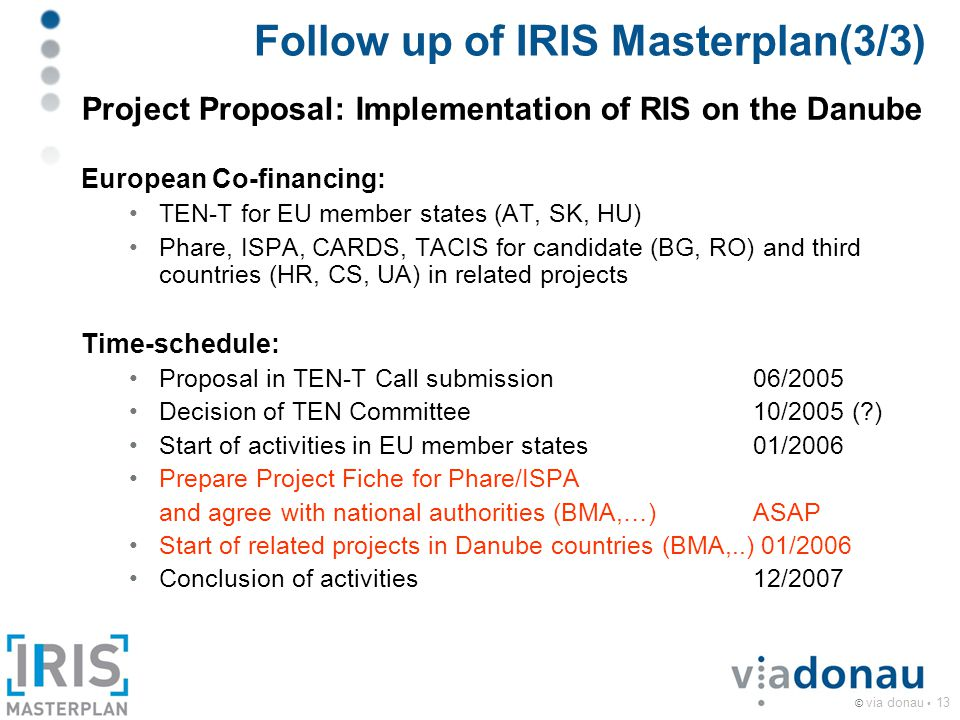 © via donau 13 Follow up of IRIS Masterplan(3/3) Project Proposal: Implementation of RIS on the Danube European Co-financing: TEN-T for EU member states (AT, SK, HU) Phare, ISPA, CARDS, TACIS for candidate (BG, RO) and third countries (HR, CS, UA) in related projects Time-schedule: Proposal in TEN-T Call submission06/2005 Decision of TEN Committee10/2005 (?) Start of activities in EU member states01/2006 Prepare Project Fiche for Phare/ISPA and agree with national authorities (BMA,…)ASAP Start of related projects in Danube countries (BMA,..) 01/2006 Conclusion of activities12/2007