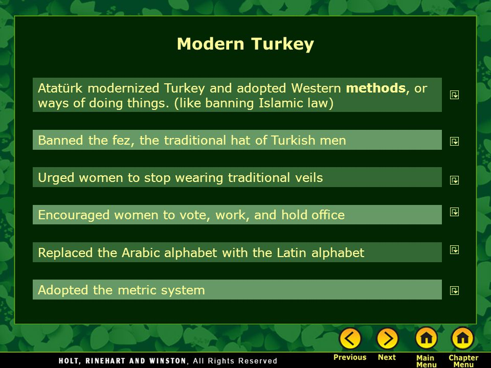 Modern Turkey Atatürk modernized Turkey and adopted Western methods, or ways of doing things. (like banning Islamic law) Banned the fez, the tradition