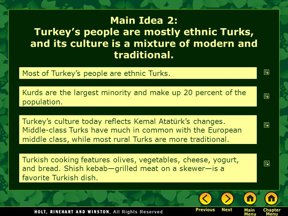 Main Idea 2: Turkey's people are mostly ethnic Turks, and its culture is a mixture of modern and traditional. Most of Turkey's people are ethnic Turks