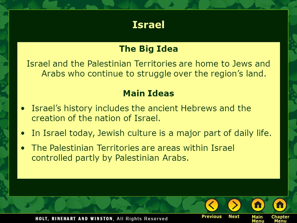 Israel The Big Idea Israel and the Palestinian Territories are home to Jews and Arabs who continue to struggle over the region's land. Main Ideas Isra