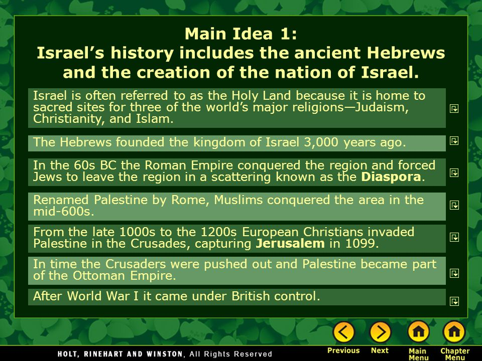 Main Idea 1: Israel's history includes the ancient Hebrews and the creation of the nation of Israel. Israel is often referred to as the Holy Land beca