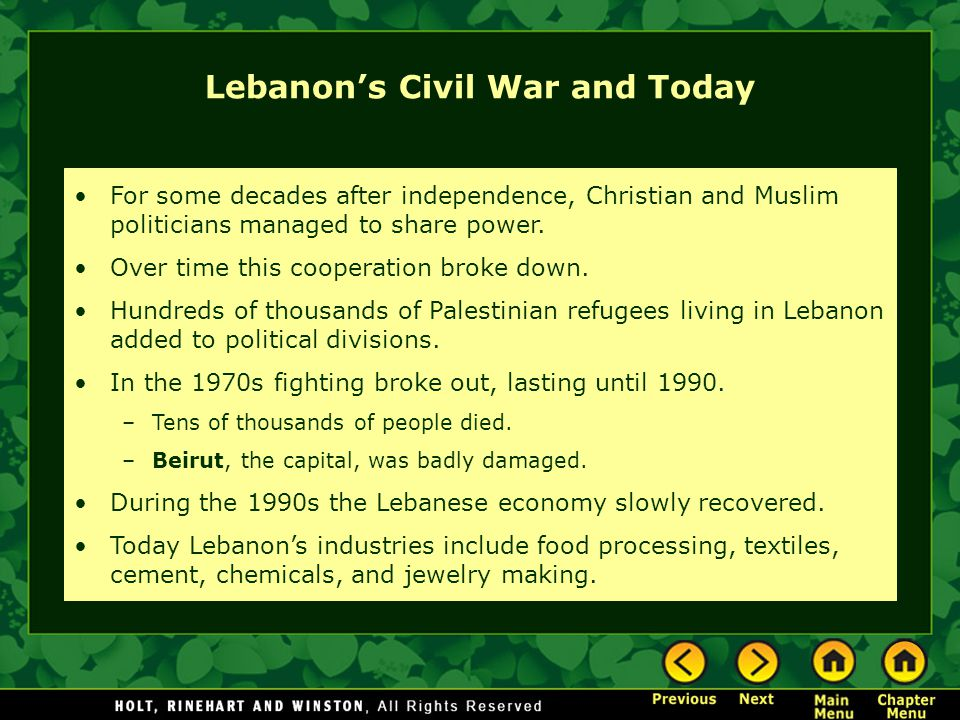 Lebanon's Civil War and Today For some decades after independence, Christian and Muslim politicians managed to share power. Over time this cooperation