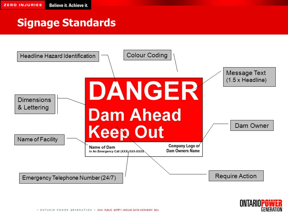  O N T A R I O P O W E R G E N E R A T I O N  OWA PUBLIC SAFETY AROUND DAMS WORKSHOP 2011 Signage Standards Name of Facility Emergency Telephone Number (24/7) Dam Owner Headline Hazard Identification Message Text (1.5 x Headline) Require Action Colour Coding Dimensions & Lettering