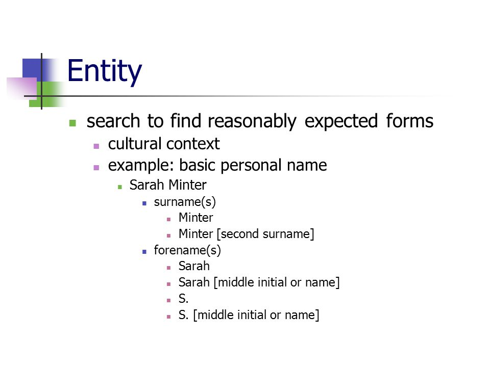 Entity search to find reasonably expected forms cultural context example: basic personal name Sarah Minter surname(s) Minter Minter [second surname] forename(s) Sarah Sarah [middle initial or name] S.