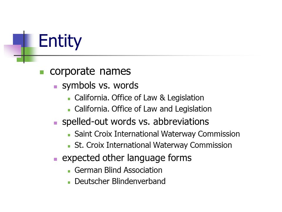 Entity corporate names symbols vs. words California.