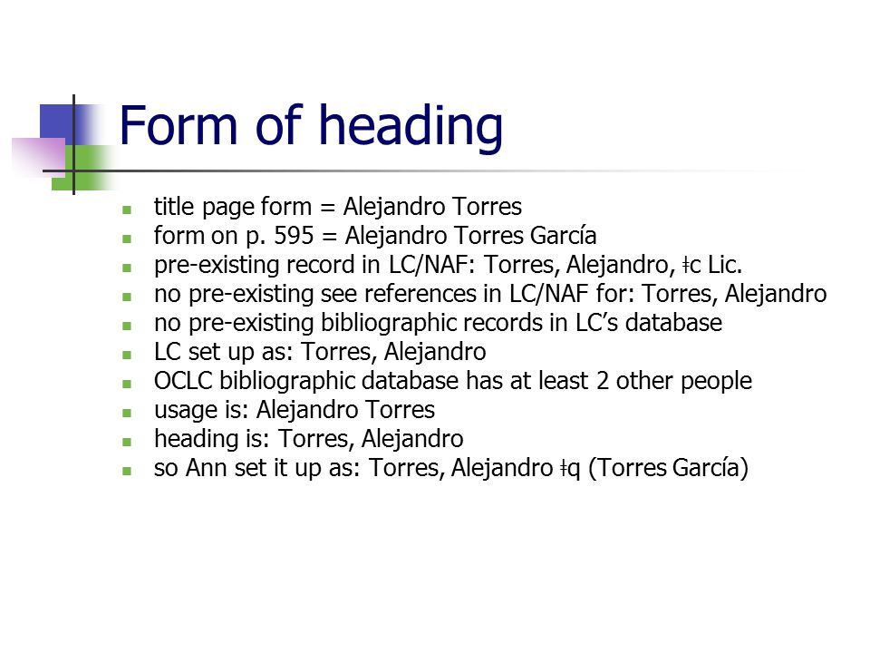Form of heading title page form = Alejandro Torres form on p.