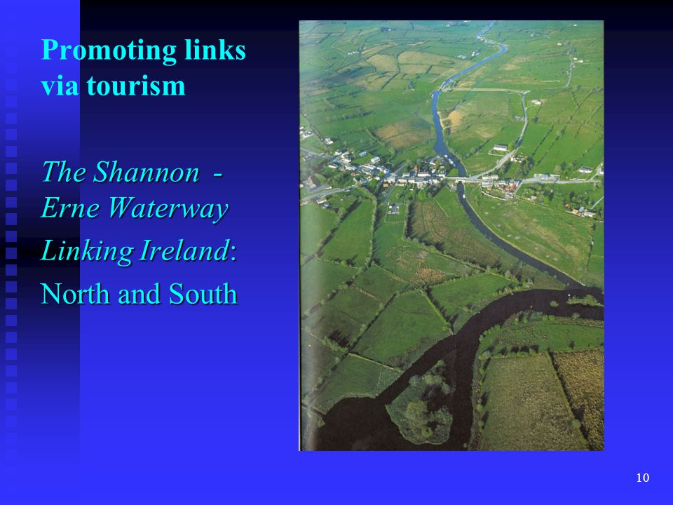 Promoting links via tourism The Shannon - Erne Waterway Linking Ireland: North and South 10