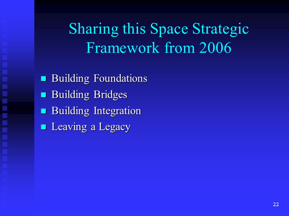 22 Sharing this Space Strategic Framework from 2006 Building Foundations Building Foundations Building Bridges Building Bridges Building Integration Building Integration Leaving a Legacy Leaving a Legacy