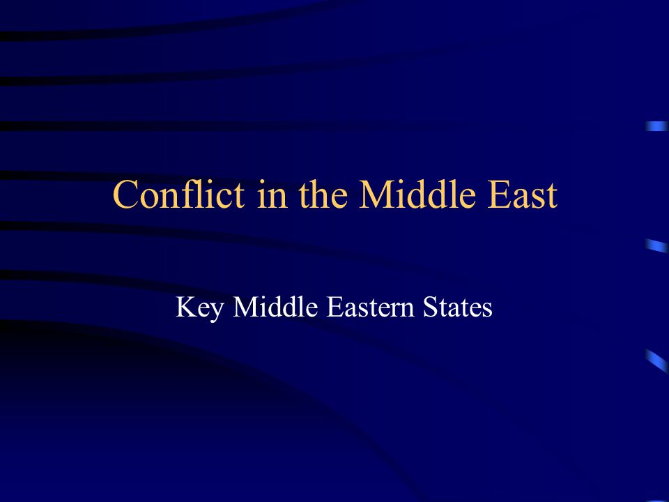 Conflict in the Middle East Key Middle Eastern States