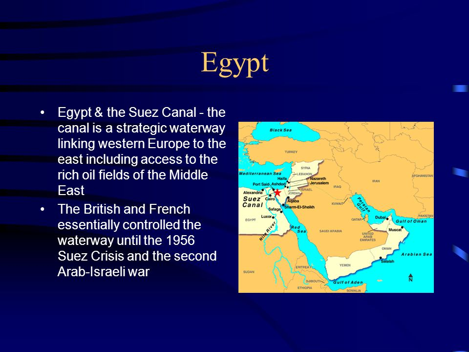 Egypt Egypt & the Suez Canal - the canal is a strategic waterway linking western Europe to the east including access to the rich oil fields of the Mid