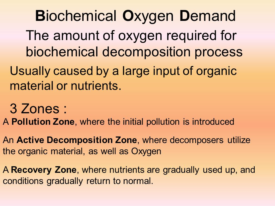 Biochemical Oxygen Demand The amount of oxygen required for biochemical decomposition process 3 Zones : A Pollution Zone, where the initial pollution is introduced Usually caused by a large input of organic material or nutrients.
