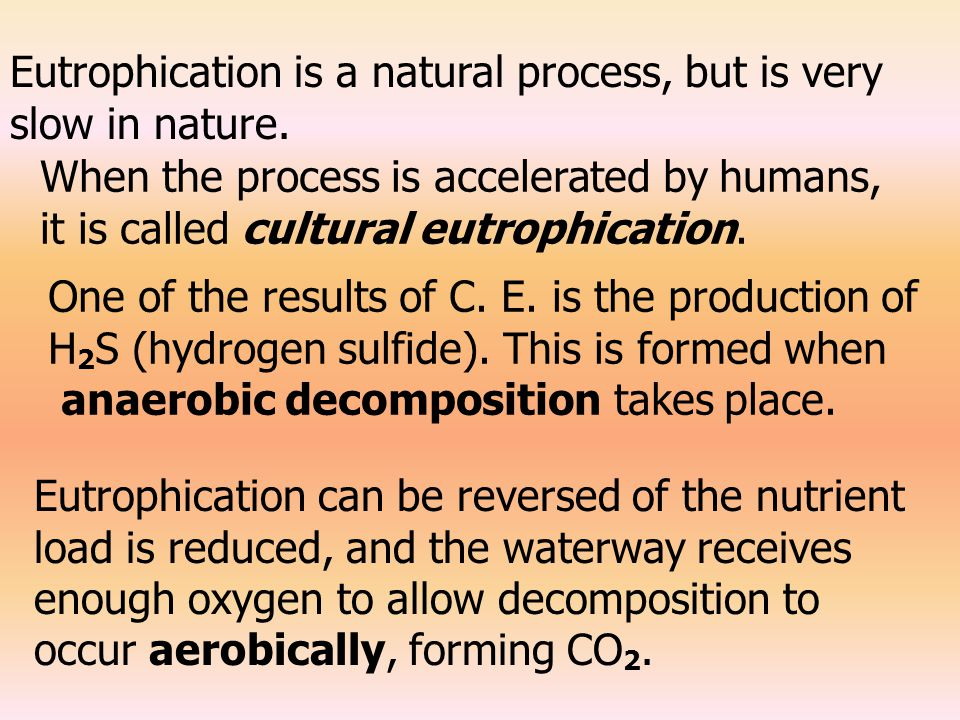 Eutrophication is a natural process, but is very slow in nature.