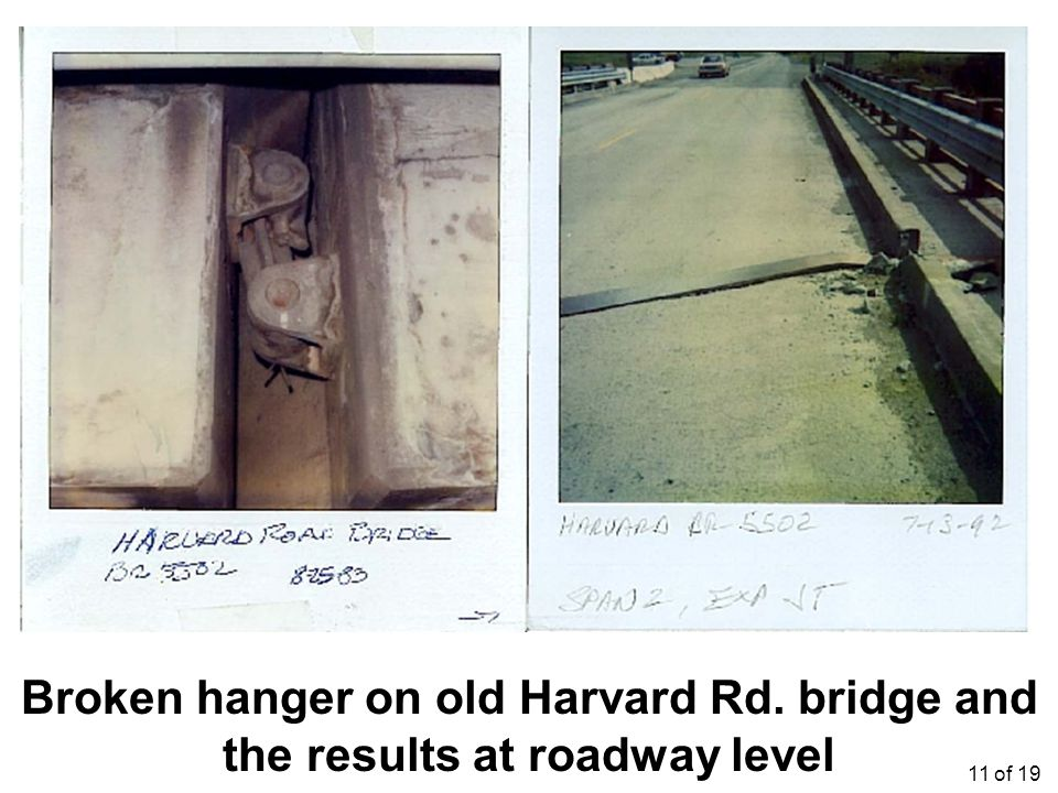 Broken hanger on old Harvard Rd. bridge and the results at roadway level 11 of 19
