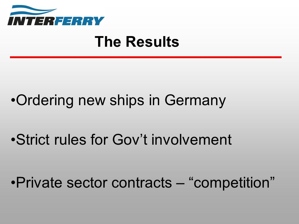 The Results Ordering new ships in Germany Strict rules for Gov't involvement Private sector contracts – competition