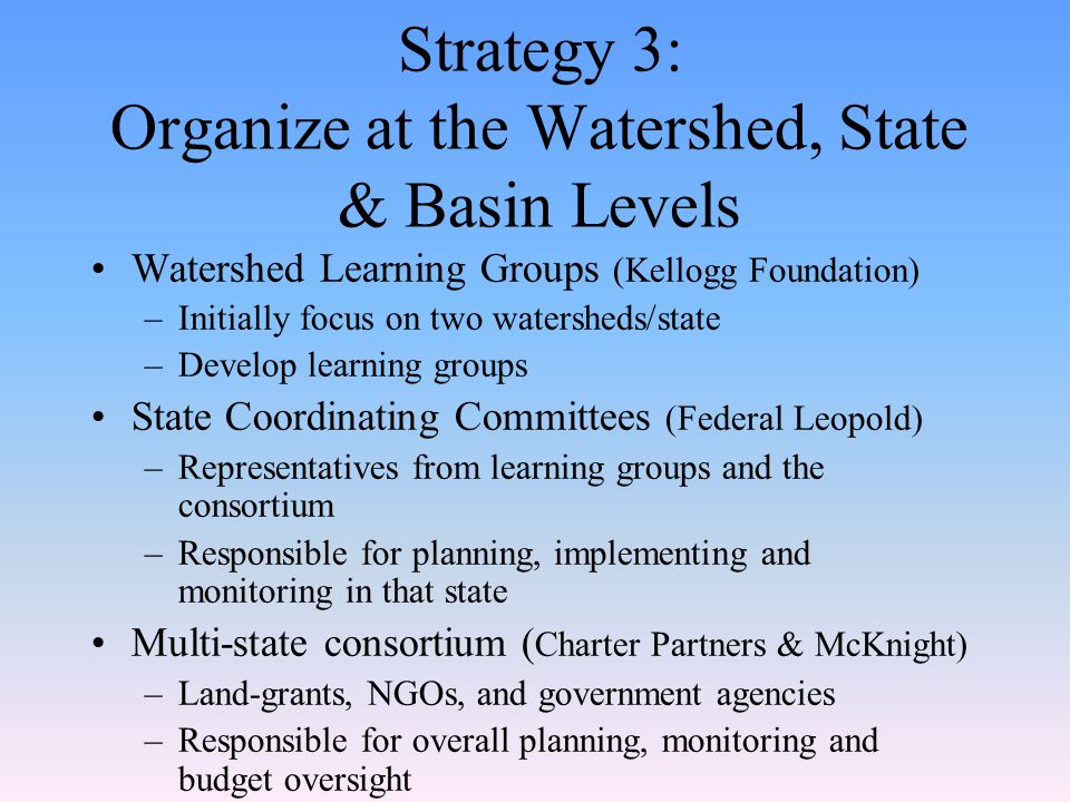 Strategy 3: Organize at the Watershed, State & Basin Levels Watershed Learning Groups (Kellogg Foundation) –Initially focus on two watersheds/state –Develop learning groups State Coordinating Committees (Federal Leopold) –Representatives from learning groups and the consortium –Responsible for planning, implementing and monitoring in that state Multi-state consortium ( Charter Partners & McKnight) –Land-grants, NGOs, and government agencies –Responsible for overall planning, monitoring and budget oversight