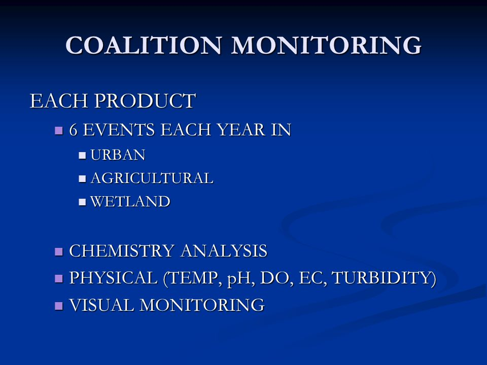 COALITION MONITORING EACH PRODUCT 6 EVENTS EACH YEAR IN 6 EVENTS EACH YEAR IN URBAN URBAN AGRICULTURAL AGRICULTURAL WETLAND WETLAND CHEMISTRY ANALYSIS