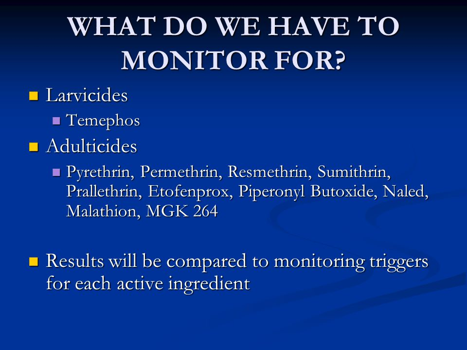 WHAT DO WE HAVE TO MONITOR FOR.