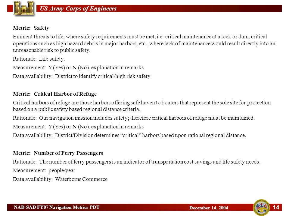 US Army Corps of Engineers 14 NAD-SAD FY07 Navigation Metrics PDT December 14, 2004 Metric: Safety Eminent threats to life, where safety requirements must be met, i.e.