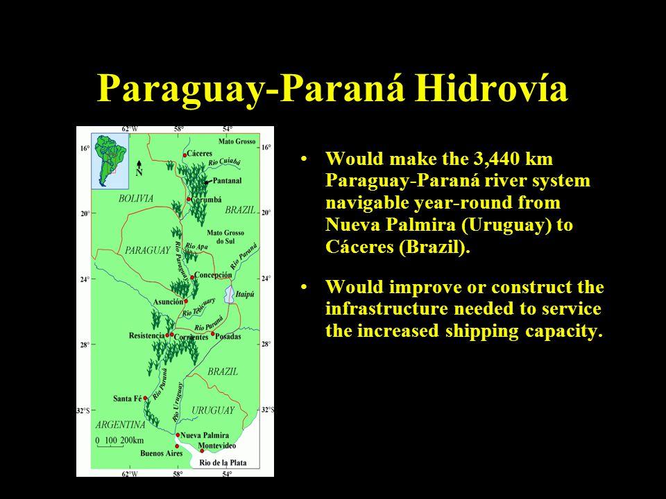 Paraguay-Paraná Hidrovía Would make the 3,440 km Paraguay-Paraná river system navigable year-round from Nueva Palmira (Uruguay) to Cáceres (Brazil).