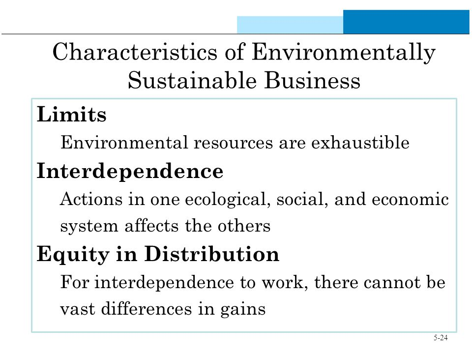 Characteristics of Environmentally Sustainable Business Limits Environmental resources are exhaustible Interdependence Actions in one ecological, soci