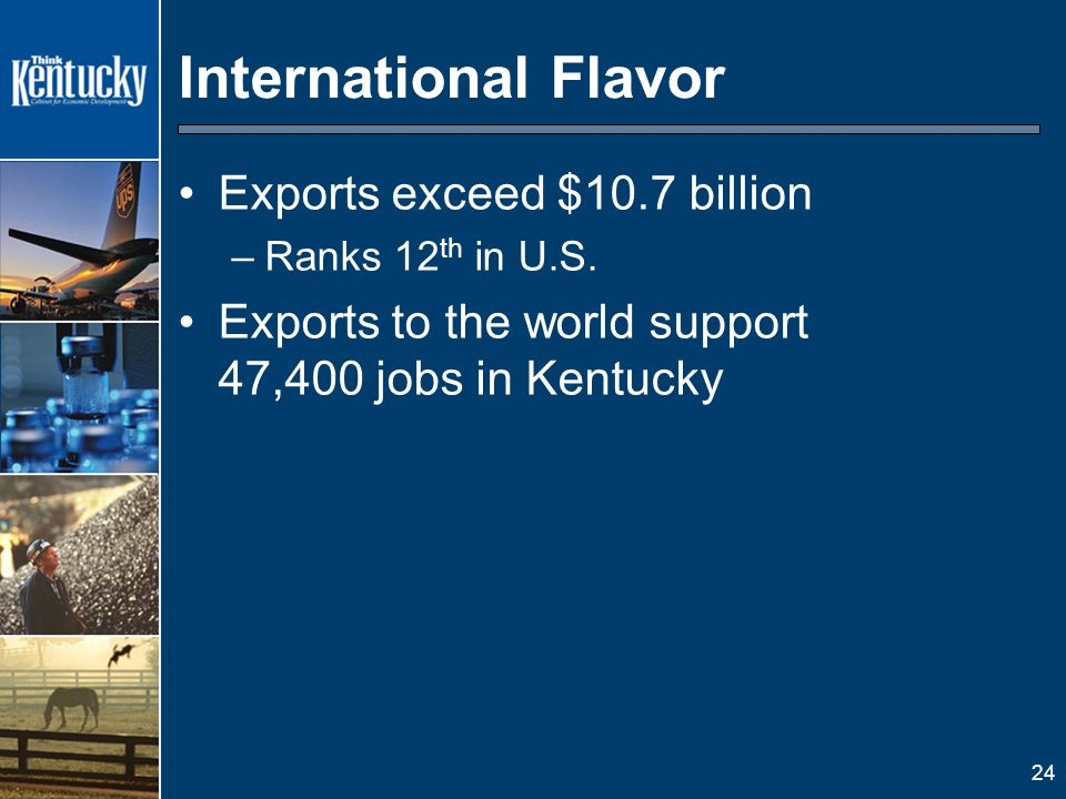 24 International Flavor Exports exceed $10.7 billion –Ranks 12 th in U.S.