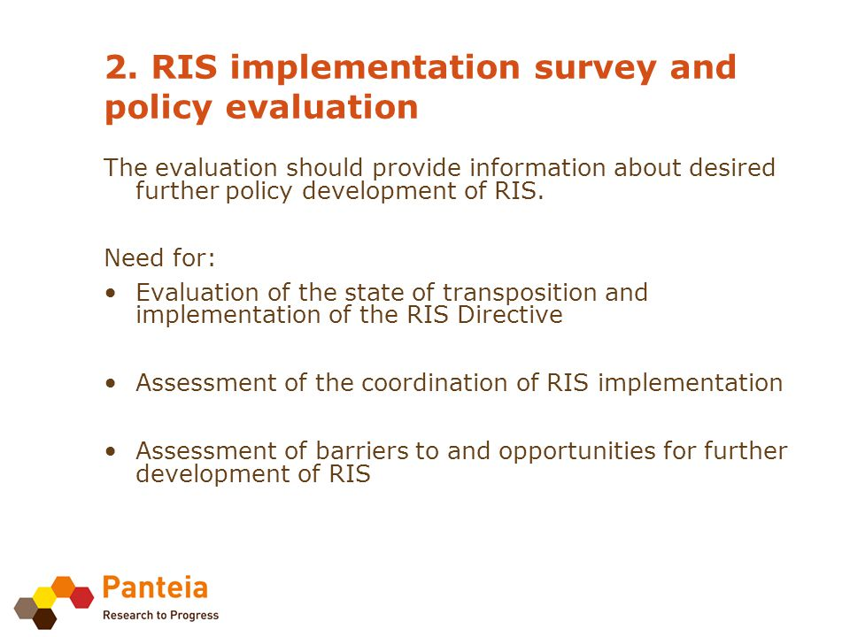 5. RIS implementation survey and policy evaluation: approach