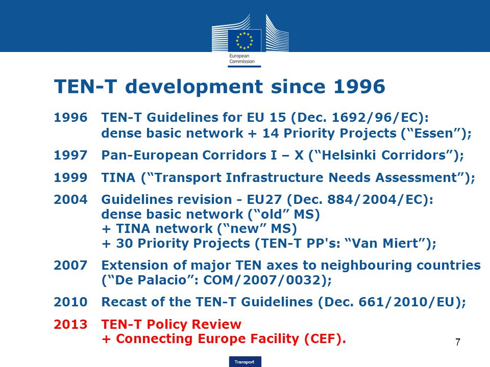 Transport 18 Green Core Network Corridors The concept includes operational aspects, which allows: a particular focus on multimodality and modal shift, supported by e-freight, etc.: -ports, road-rail terminals, -airports; an extension to include passenger transport; a particular focus on urban nodes: -optimised linkage long, medium, short distance -city logistics, -public transport.