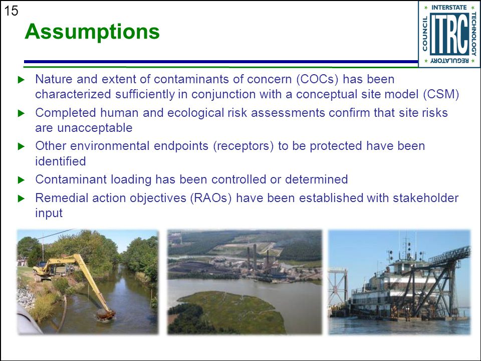 15 Assumptions  Nature and extent of contaminants of concern (COCs) has been characterized sufficiently in conjunction with a conceptual site model (CSM)  Completed human and ecological risk assessments confirm that site risks are unacceptable  Other environmental endpoints (receptors) to be protected have been identified  Contaminant loading has been controlled or determined  Remedial action objectives (RAOs) have been established with stakeholder input