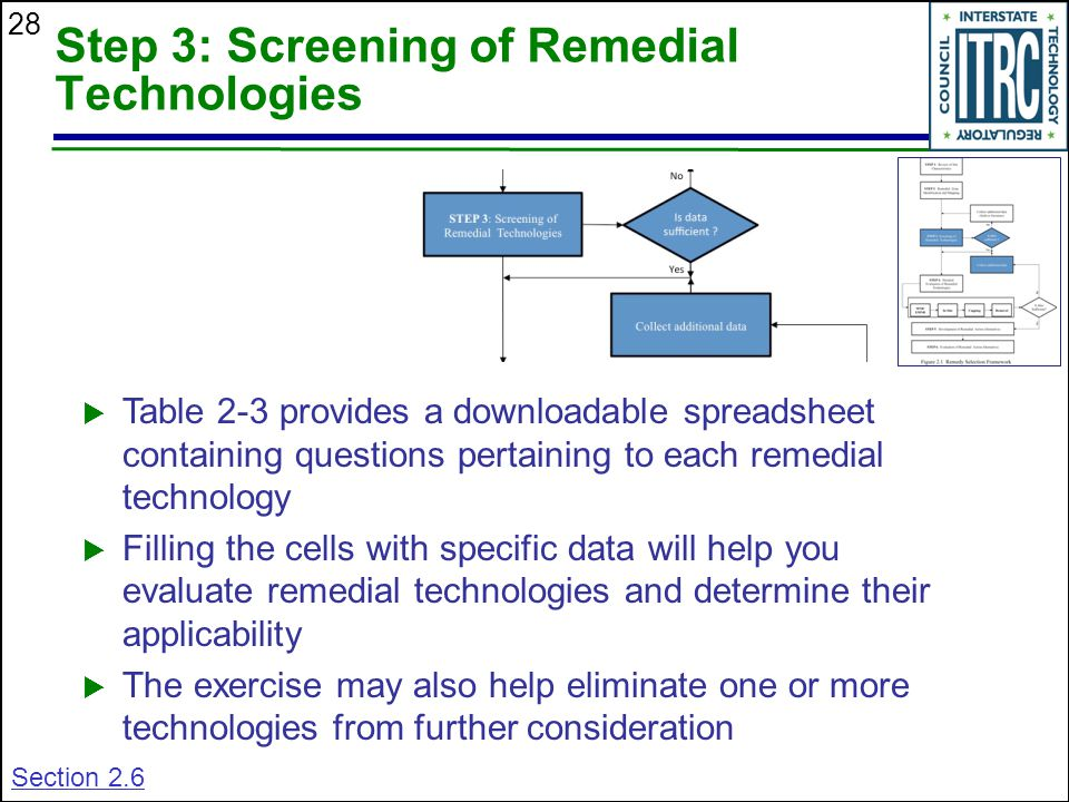 28 Step 3: Screening of Remedial Technologies  Table 2-3 provides a downloadable spreadsheet containing questions pertaining to each remedial technology  Filling the cells with specific data will help you evaluate remedial technologies and determine their applicability  The exercise may also help eliminate one or more technologies from further consideration Section 2.6