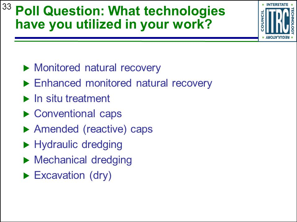 33 Poll Question: What technologies have you utilized in your work.