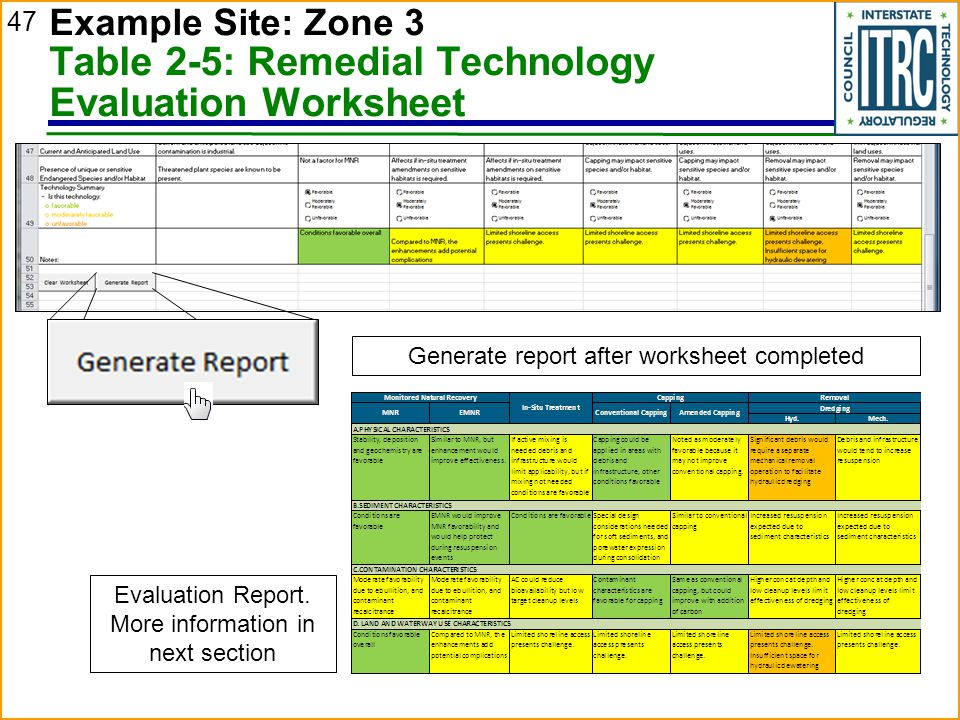 47 Example Site: Zone 3 Table 2-5: Remedial Technology Evaluation Worksheet Generate report after worksheet completed Evaluation Report.