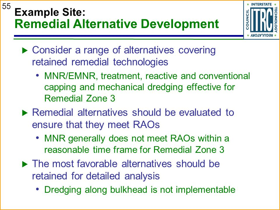 55 Example Site: Remedial Alternative Development  Consider a range of alternatives covering retained remedial technologies MNR/EMNR, treatment, reactive and conventional capping and mechanical dredging effective for Remedial Zone 3  Remedial alternatives should be evaluated to ensure that they meet RAOs MNR generally does not meet RAOs within a reasonable time frame for Remedial Zone 3  The most favorable alternatives should be retained for detailed analysis Dredging along bulkhead is not implementable