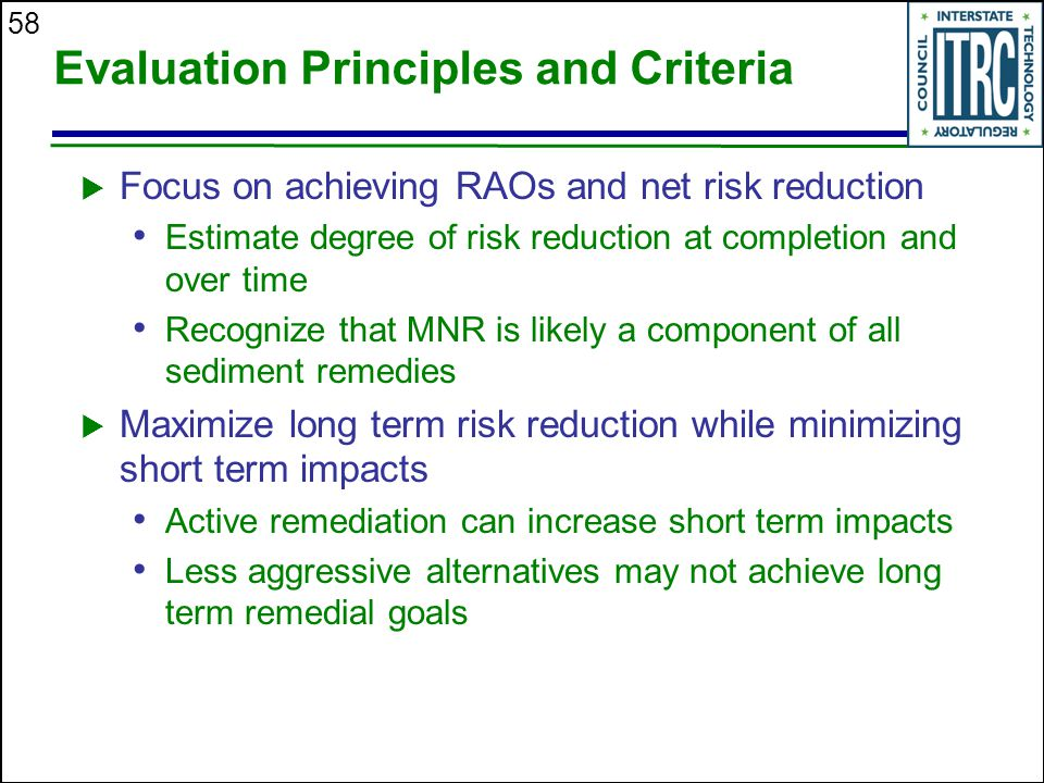 58 Evaluation Principles and Criteria  Focus on achieving RAOs and net risk reduction Estimate degree of risk reduction at completion and over time Recognize that MNR is likely a component of all sediment remedies  Maximize long term risk reduction while minimizing short term impacts Active remediation can increase short term impacts Less aggressive alternatives may not achieve long term remedial goals