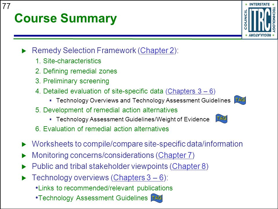 77 Course Summary  Remedy Selection Framework (Chapter 2):Chapter 2 1.