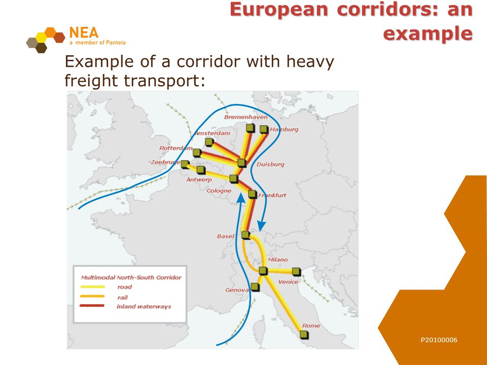 P20100006 European corridors: an example Example of a corridor with heavy freight transport: