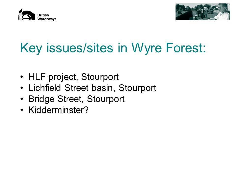 Key issues/sites in Wyre Forest: HLF project, Stourport Lichfield Street basin, Stourport Bridge Street, Stourport Kidderminster?