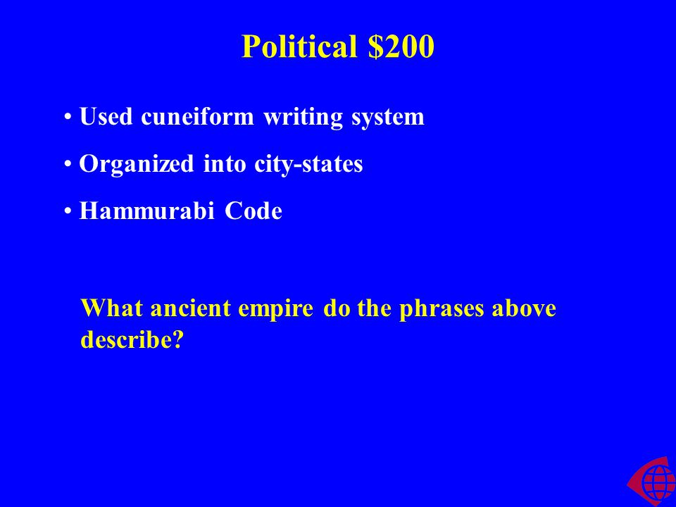 Political $200 Used cuneiform writing system Organized into city-states Hammurabi Code What ancient empire do the phrases above describe?