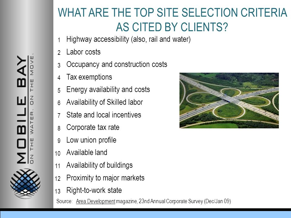 WHAT ARE THE TOP SITE SELECTION CRITERIA AS CITED BY CLIENTS.