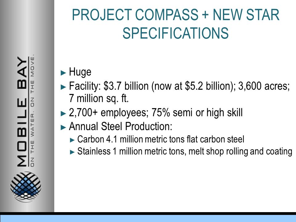 PROJECT COMPASS + NEW STAR SPECIFICATIONS ► Huge ► Facility: $3.7 billion (now at $5.2 billion); 3,600 acres; 7 million sq.