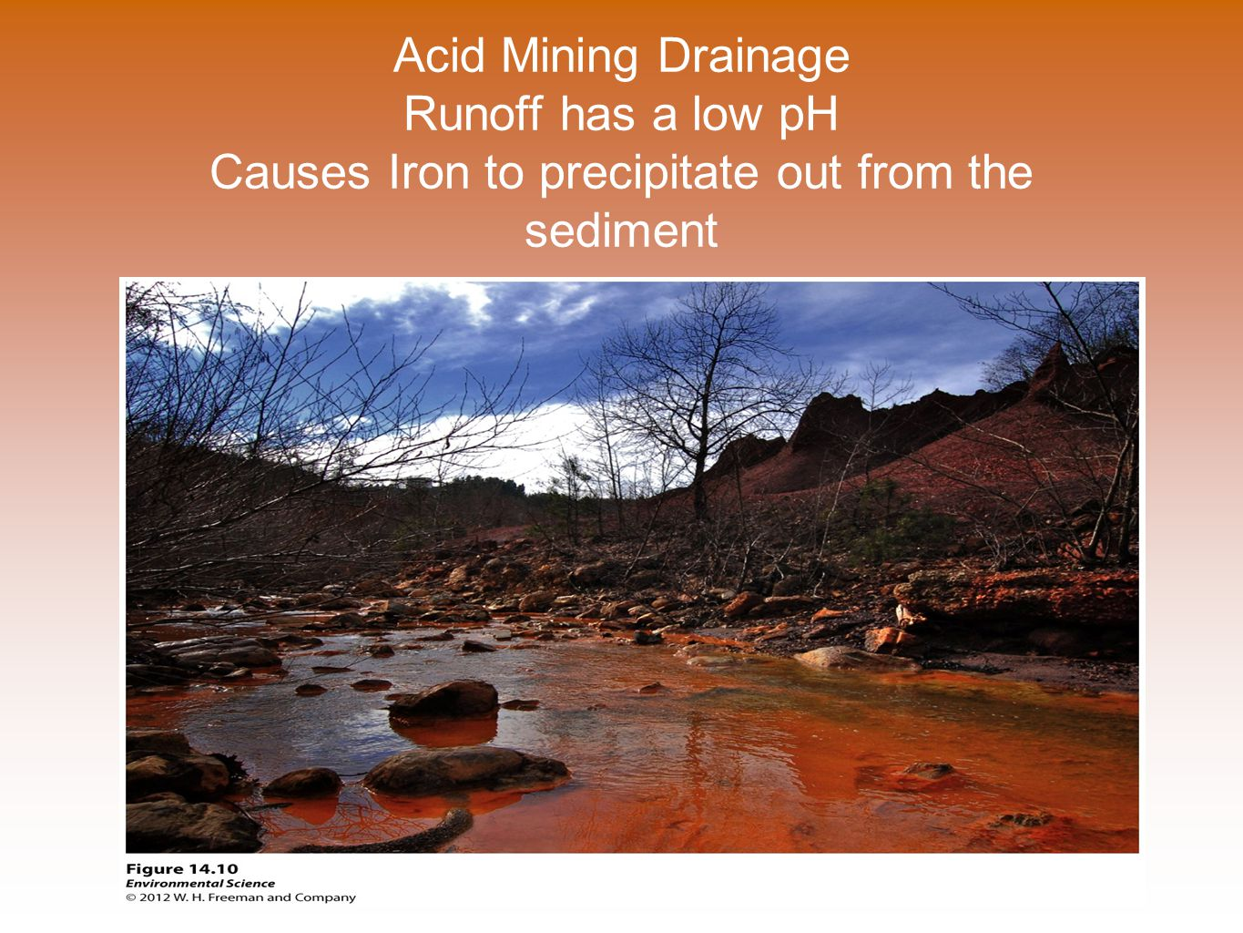 Acid Mining Drainage Runoff has a low pH Causes Iron to precipitate out from the sediment
