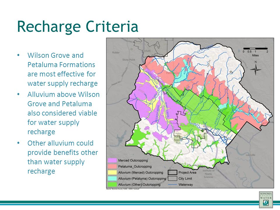 Recharge Criteria Wilson Grove and Petaluma Formations are most effective for water supply recharge Alluvium above Wilson Grove and Petaluma also cons