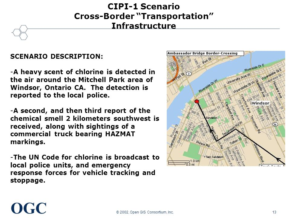 OGC © 2002, Open GIS Consortium, Inc.13 SCENARIO DESCRIPTION: -A heavy scent of chlorine is detected in the air around the Mitchell Park area of Windsor, Ontario CA.