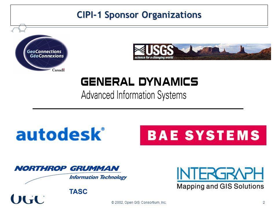 OGC © 2002, Open GIS Consortium, Inc.2 CIPI-1 Sponsor Organizations