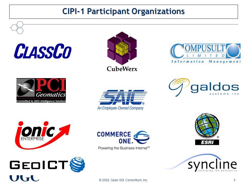 OGC © 2002, Open GIS Consortium, Inc.3 CIPI-1 Participant Organizations