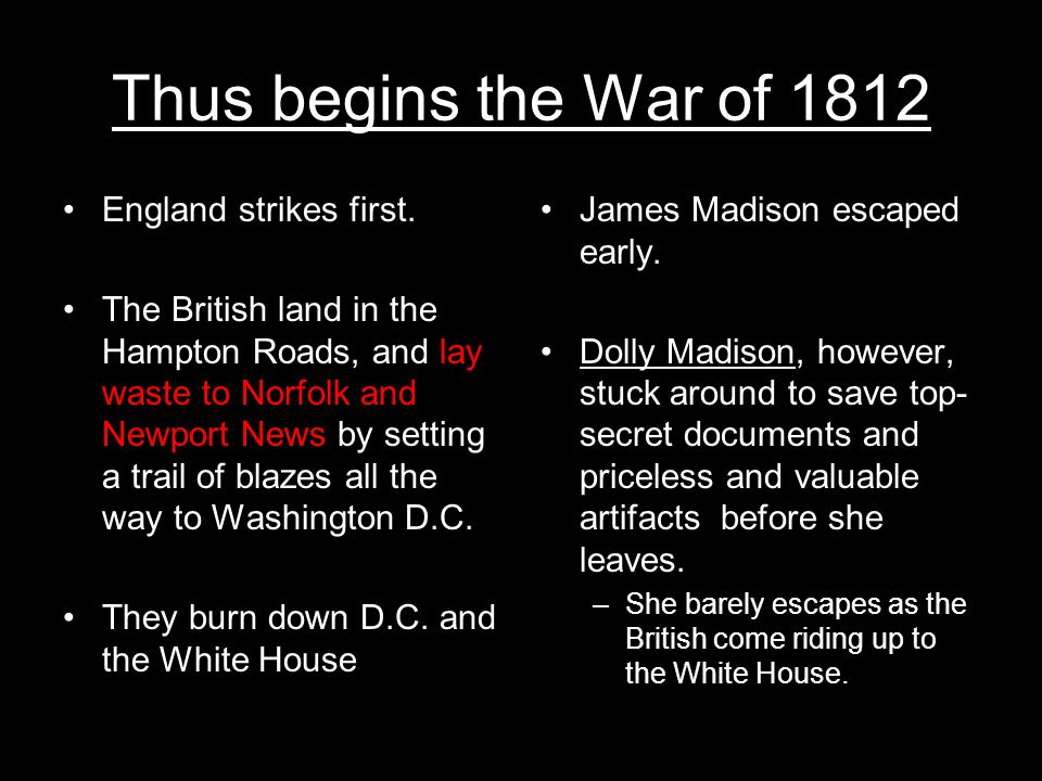 Thus begins the War of 1812 England strikes first.