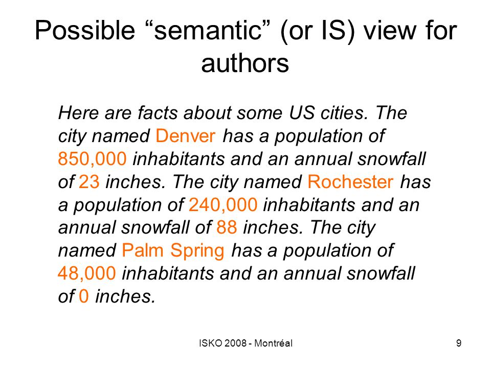 """ISKO 2008 - Montréal9 Possible """"semantic"""" (or IS) view for authors Here are facts about some US cities. The city named Denver has a population of 850,"""