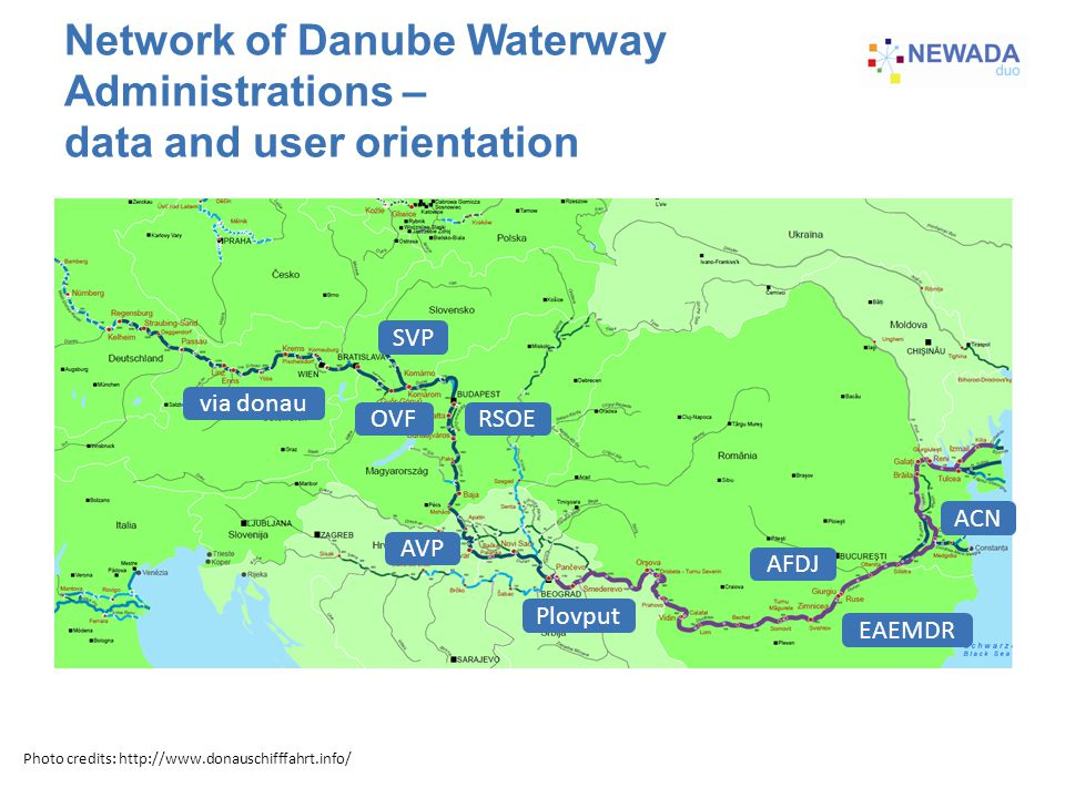Network of Danube Waterway Administrations – data and user orientation SVP via donau OVFRSOE AVP Plovput ACN EAEMDR AFDJ Photo credits: http://www.donauschifffahrt.info/ If we have better map, go for it!
